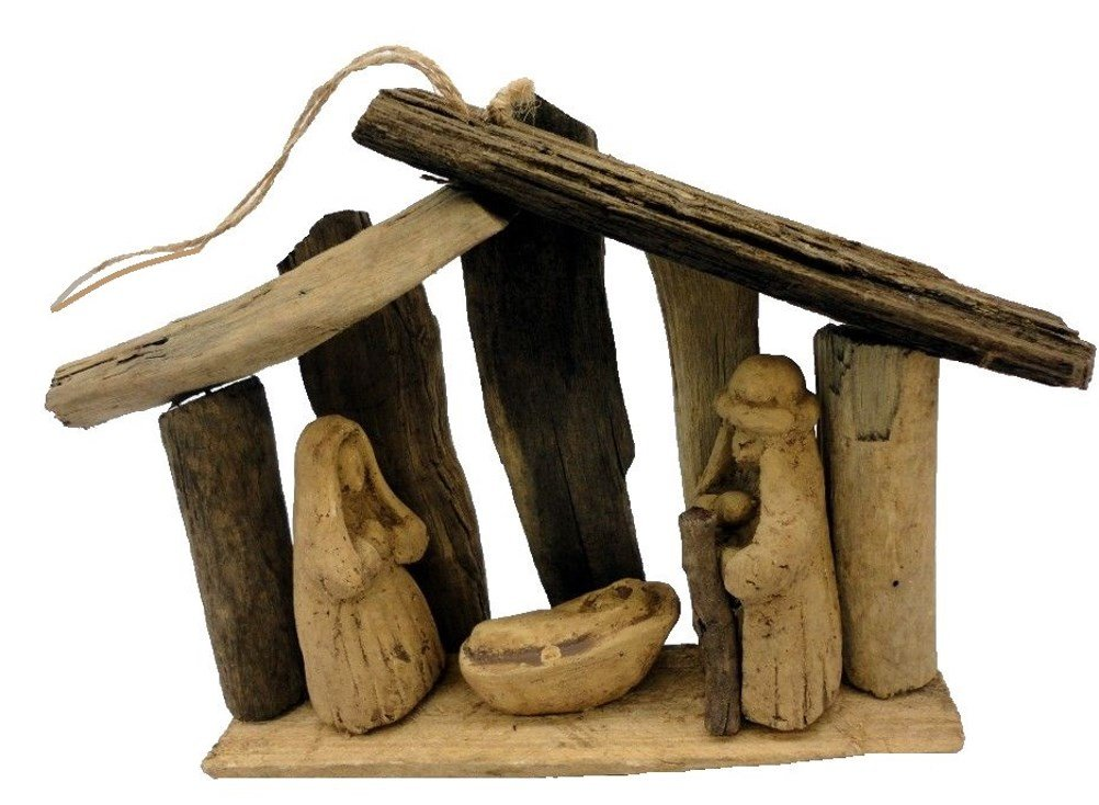 Hand Carved Driftwood Christmas Nativity