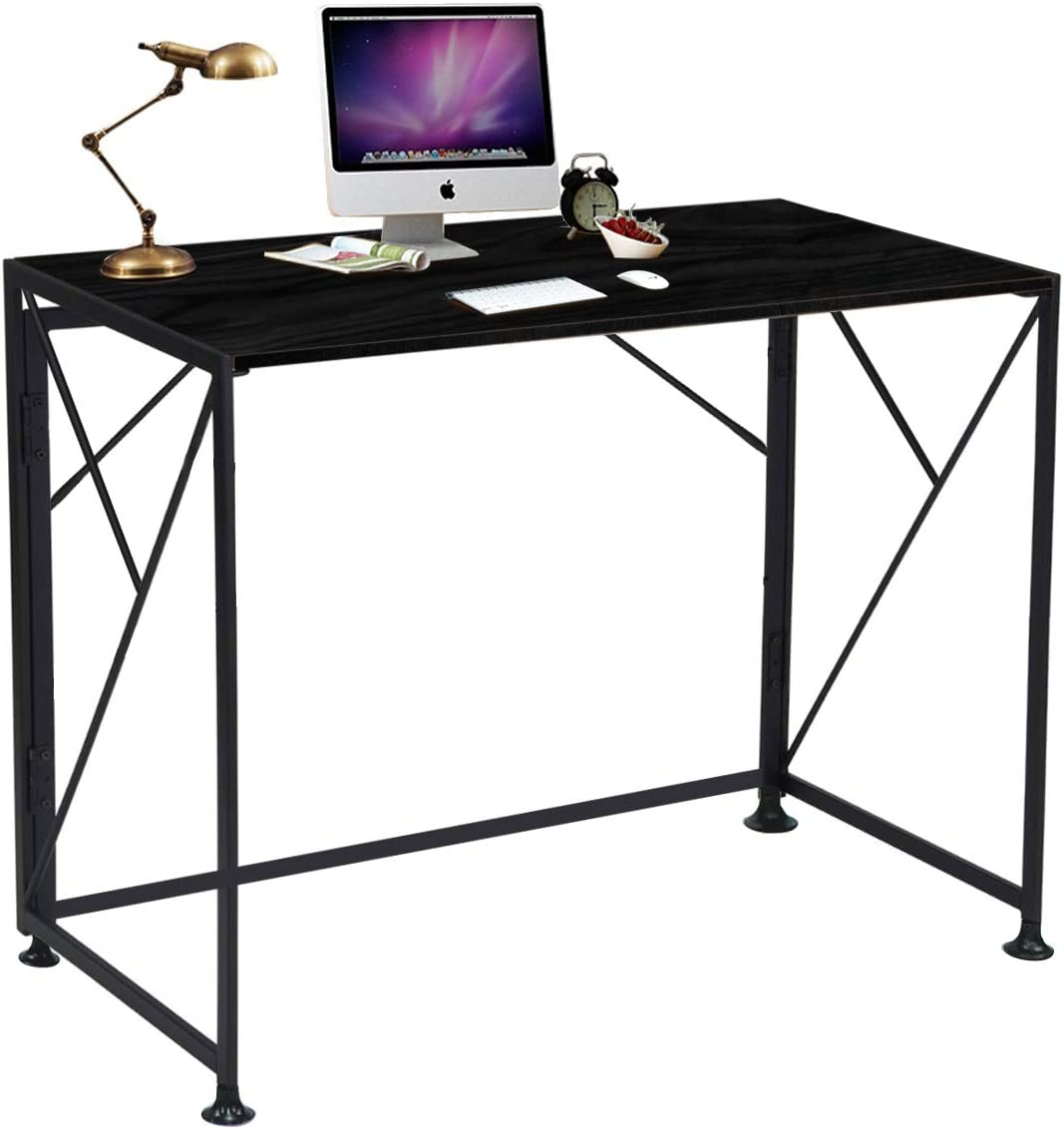 ComHoma Writing Computer Desk Office Folding Table Modern Simple Work Study Desk Industrial Style PC Laptop Table for Home Office, No Assembly Required, Black
