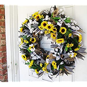 Black White & Yellow Summer Sunflower Front Door Deco Mesh Wreath, Spring Fall Decor, Burlap Wedding Farmhouse, French Country 3