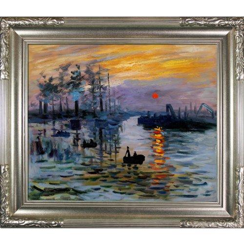 overstockArt Impression, Sunrise Framed Oil Painting by Claude Monet - Impression Oil Painting