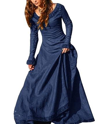 fa41e08960f9 Frauen Vintage Mittelalter Kleid Cosplay Kostüm Langarm Kleid Prinzessin  Gothic Kleid Übergröße Kleid  Amazon.de  Bekleidung