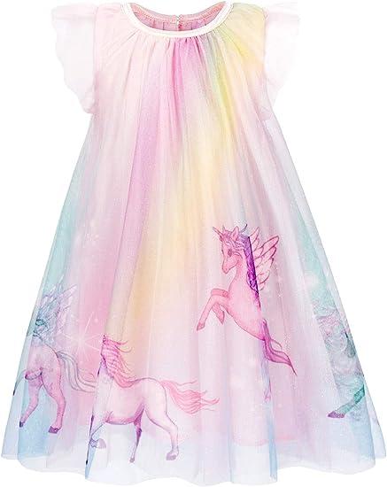 Jurebecia Vestidos de Unicornio Arcoiris para niñas Vestido de ...