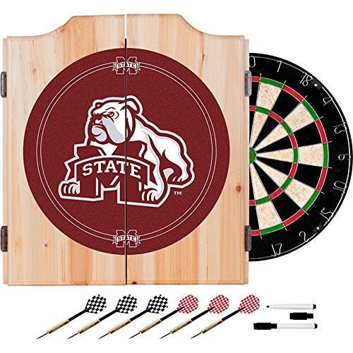 Mississippi State University Deluxe Solid Wood Cabinet Complete Dart Set - Officially Licensed! by TMG