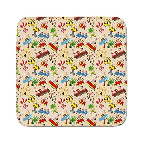 Cozy Seat Protector Pads Cushion Area Rug,Kids,Playground Toys Theme Locomotive Cars Ferris Giraffe Fairytale Castle Joyful Childhood Decorative,Multicolor,Easy to Use on Any Surface
