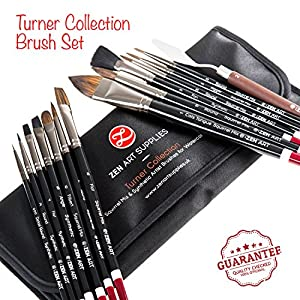 Professional Artist Brushes for Watercolor, Gouache & Fluid Acrylics - Squirrel Blend & Japanese Synthetic - Short Handle, Long-Lasting with Elegant Rollup Case - 14-pcs Turner Collection by ZenArt