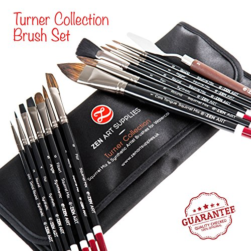 Professional Artist Brushes for Watercolor, Gouache & Fluid Acrylics - Squirrel Blend & Japanese Synthetic - Short Handle, Long-Lasting with Elegant Rollup Case - 14-pcs Turner Collection by ZenArt (Turner Case)