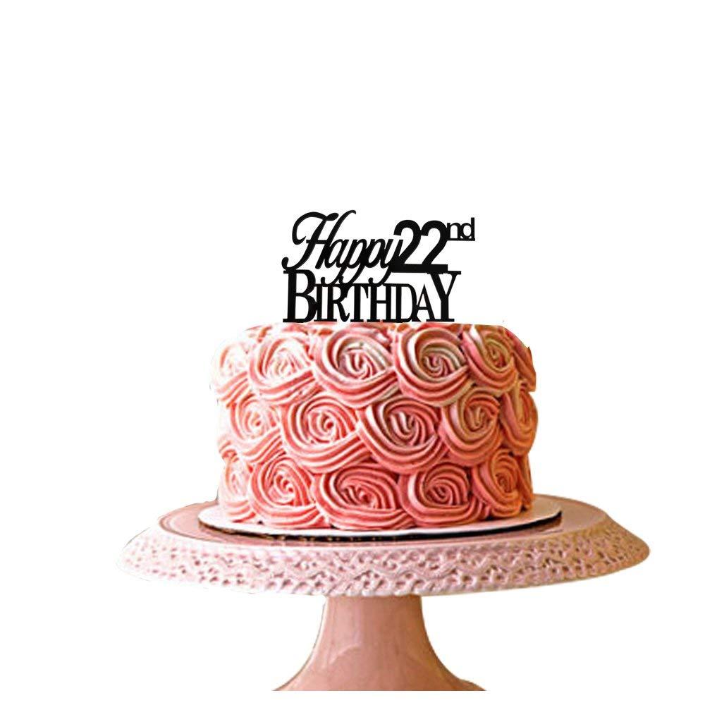 Superb Buy Santonila Happy 22Nd Birthday Cake Topper Black Acrylic For Personalised Birthday Cards Akebfashionlily Jamesorg
