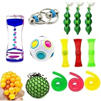 15 Pack Bundle Fidget Sensory Toys Set-Bike Chain/Liquid Motion Timer/Rainbow Magic Ball/Stretchy String Toys/Fidget Cube/Squeeze-A-Bean Soybeans and Squeeze Grape Ball