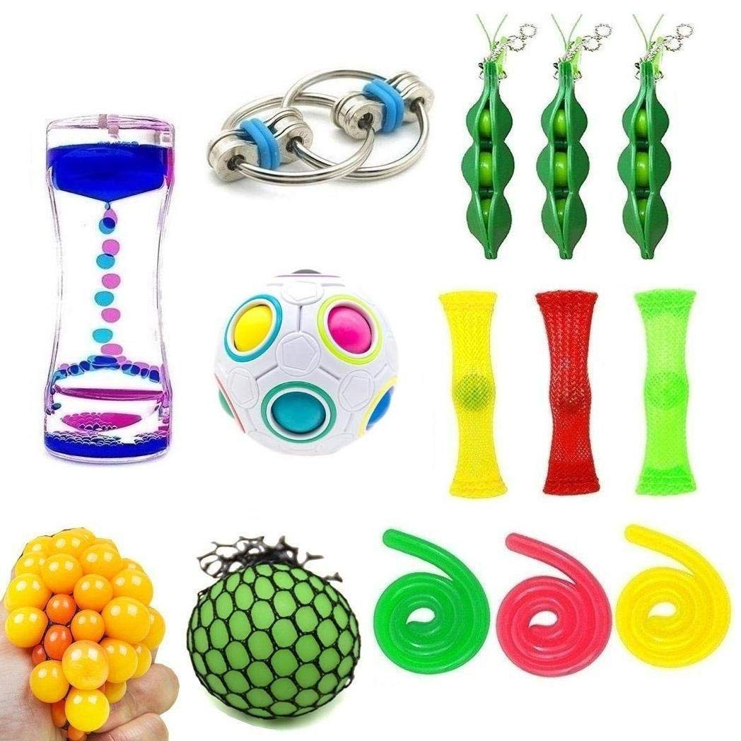 Ronshion 14 Pack Bundle Fidget Sensory Toys Set-Bike Chain/Liquid Motion Timer/Rainbow Magic Ball/Stretchy String Toys/Squeeze-A-Bean Soybeans and Squeeze Grape Ball
