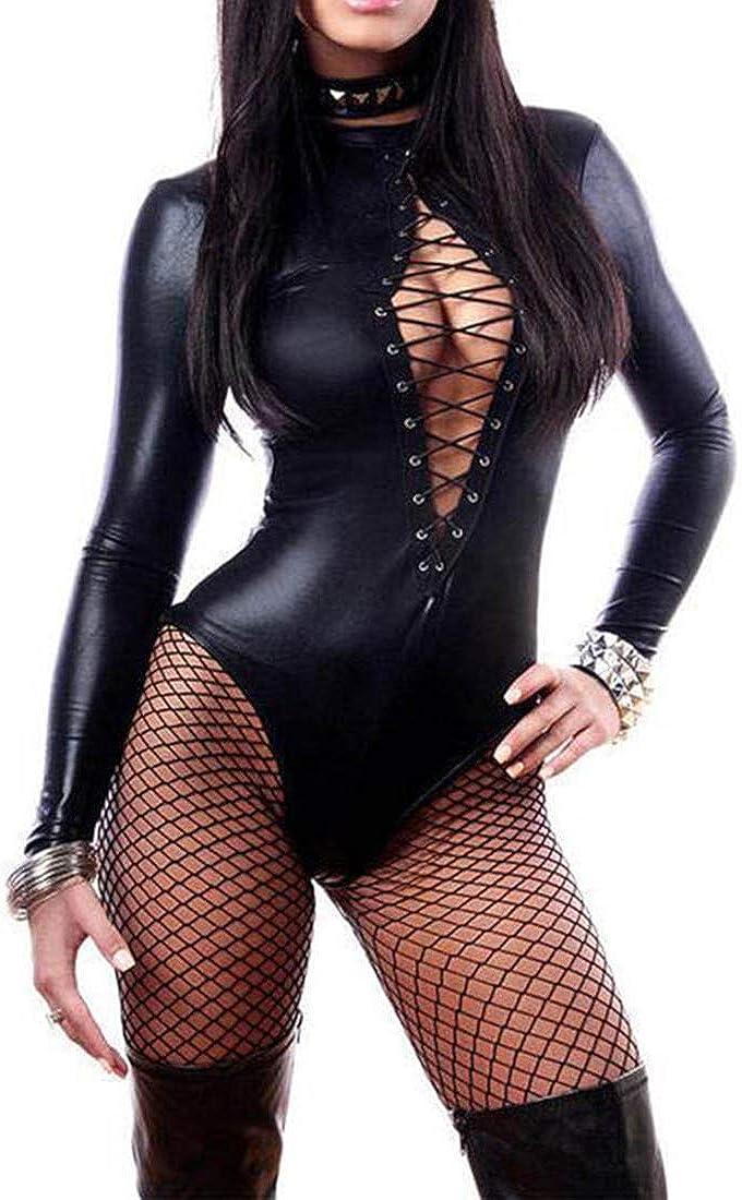 Wonder Pretty Women Leather Bodysuit Long Sleeve Lace-up Club Jumpsuit PU Romper Teddy Lingerie