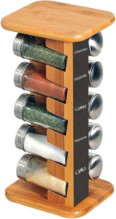 natur Kesper 58193 Gew/ürzkarussell mit Tafel und 10 leeren Gl/äsern aus FSC/®-zertifiziertem Bambus 15 x 32,5 x 13 cm