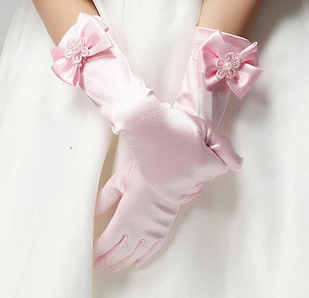 matrimonio e battesimo guanti in 8-14 anni Rosso-L WeiMay Guanti ragazze Flower Girl Bridesmaid//Child Full Fingered Satin Bow-Knot Guanti