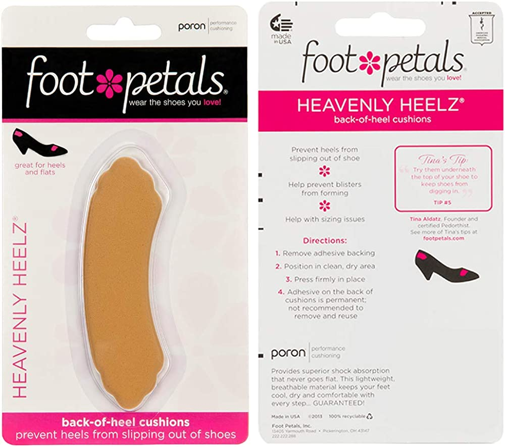 Foot Petals Heavenly Heelz Back-Of-Heel Cushions Pick Your Color Made In USA