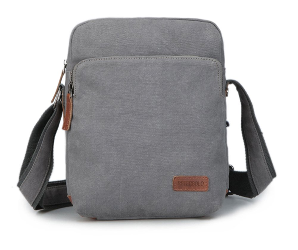 Collsants Canvas Crossbody Shoulder Bag Outdoor Travel Small Satchel Bag (Grey) by Collsants