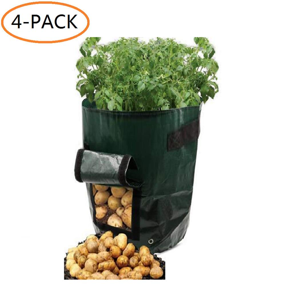 Potato Grow Bags''10 Gallon'' Garden Vegetable Fabric Planters Bag with Handles and Access Flap for Planting Potato Carrot Peanut Onion,4-Pack