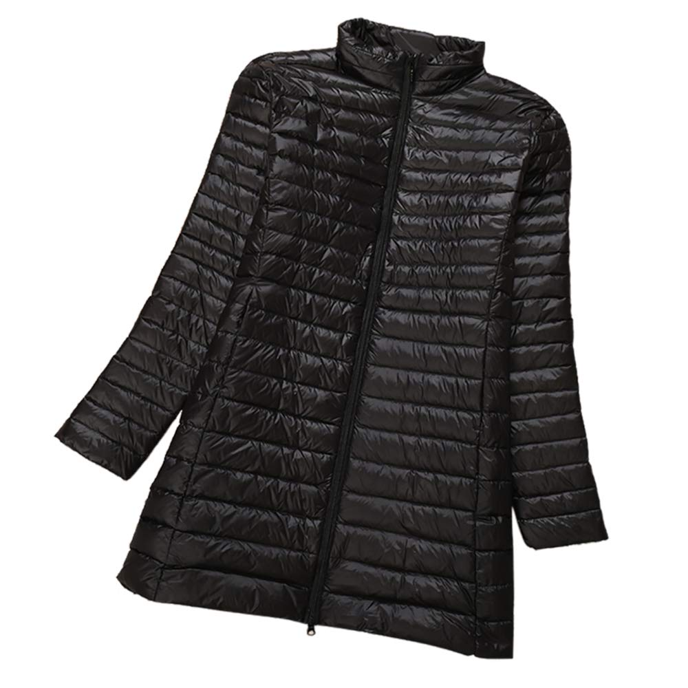 Black Aehoor Winter Large Size Women Down Jacket Long Ultra Light Slim90% Duck Down