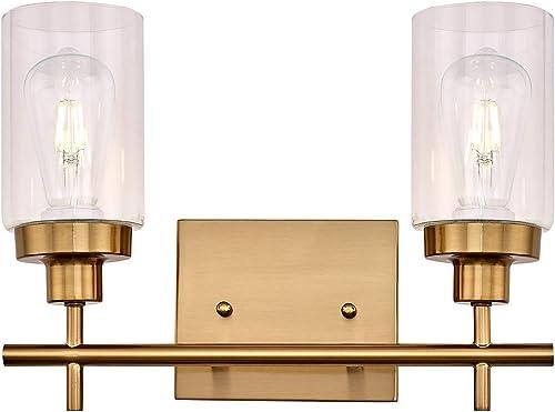 LIGOTFIRE Vanity Light Fixture 2 Light Brushed Brass Wall Sconce Modern Style