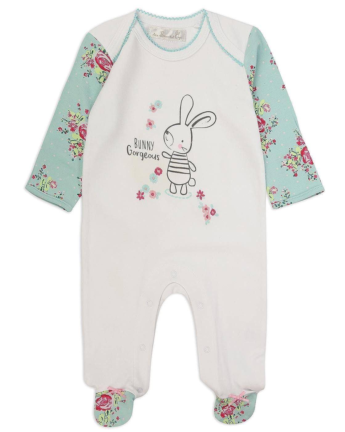 The Essential One - Bebé Niñas Floral Pijamas Tipo Pelele - Blanco/Turquesa - Primera Puesta 50cm - TESS20: Amazon.es: Ropa y accesorios