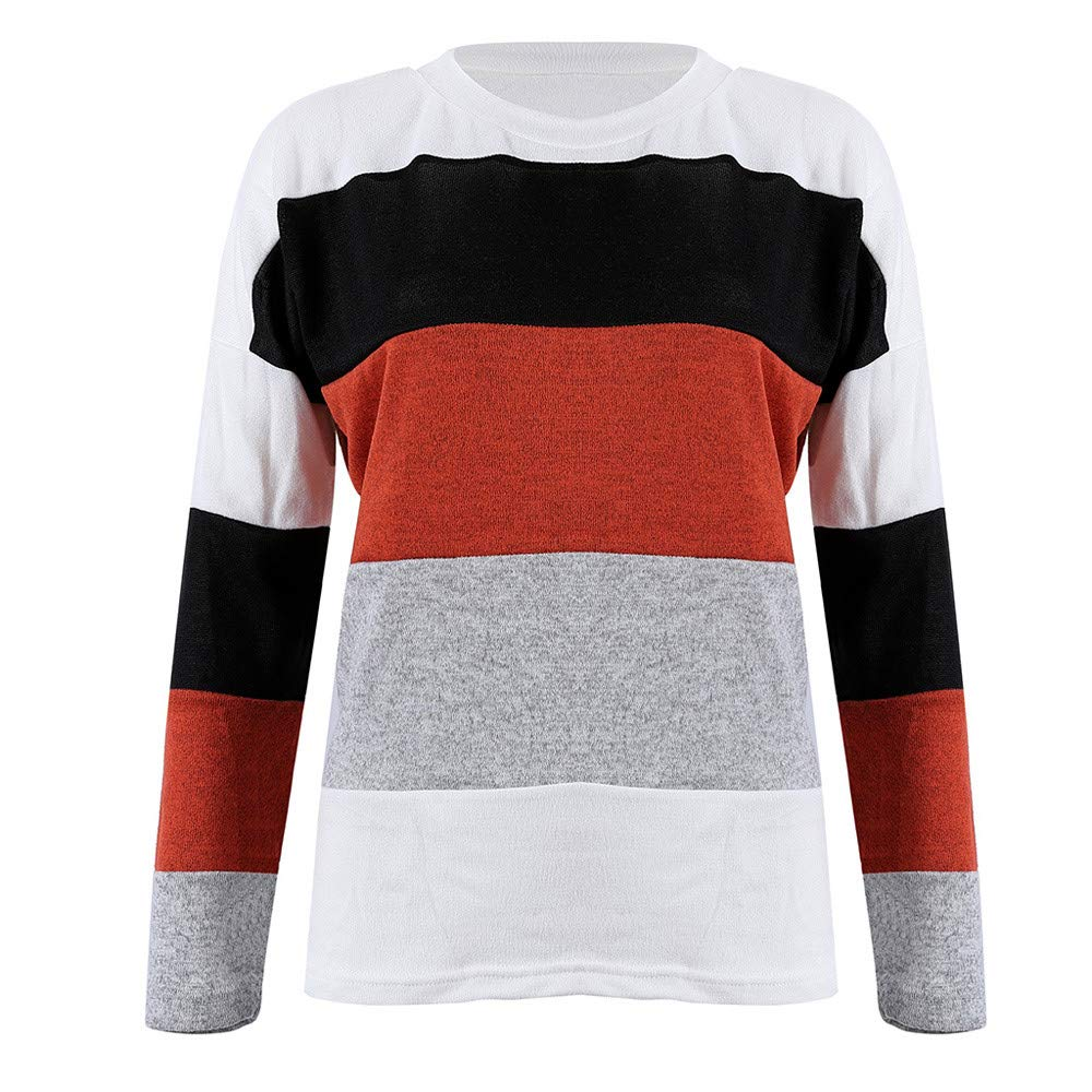 Geetobby Womens Spring Striped Sweater Pullover Fashion Casual Blouse T-Shirt