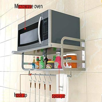 Inicio Simplicidad de Moda Estante de Cocina Montado en la Pared Estante de Horno de Microondas de Acero Inoxidable/Estante de Especias Estante de Almacenamiento de 2 Capas, C-F: Amazon.es: Bricolaje y herramientas