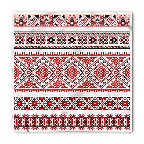 (Ambesonne Unisex Bandana, Art Ukranian Ornate Borders, Vermilion White)