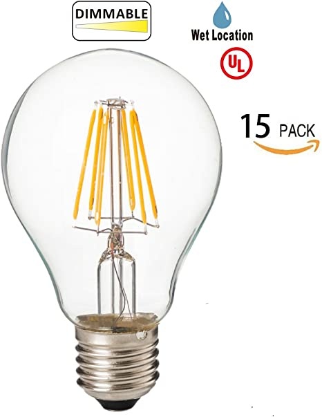 120VAC 4.5W to Replace 40W Incandescent Bulbs Dimmable 15PACK 5000K UL Certified LED2020 LED ST21 Filament Edison Bulb Day Light E26 Base Clear Bulb