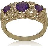 Luxus Damen Ring Solide 9 Karat (375) Gelbgold mit Amethyst und Zirkonia - Verfügbare Größen : 47 bis 68