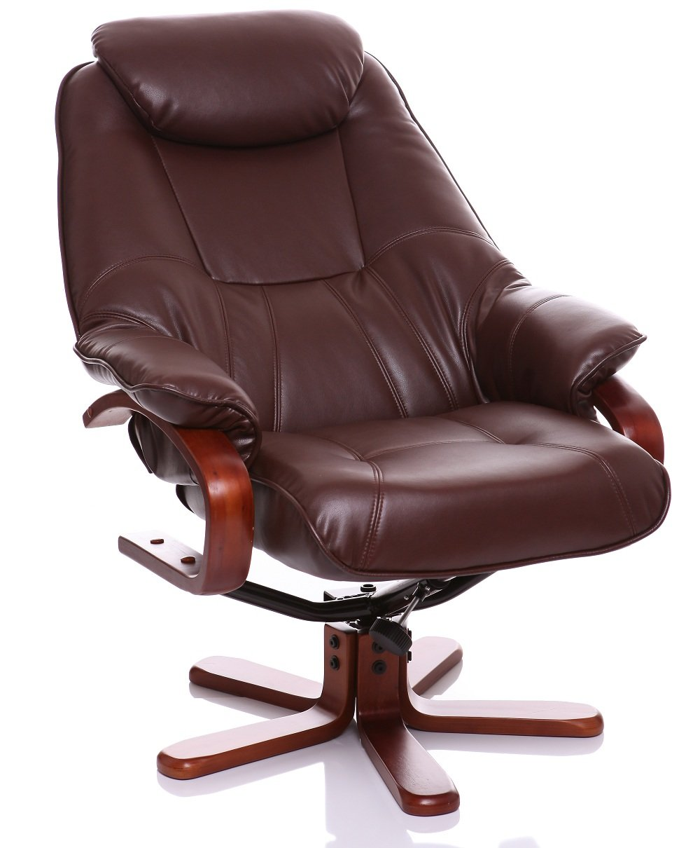 The Macau - Bonded Leather Recliner Swivel Chair with Matching Footstool in Nut Brown Amazon.co.uk Kitchen u0026 Home  sc 1 st  Amazon UK & The Macau - Bonded Leather Recliner Swivel Chair with Matching ... islam-shia.org