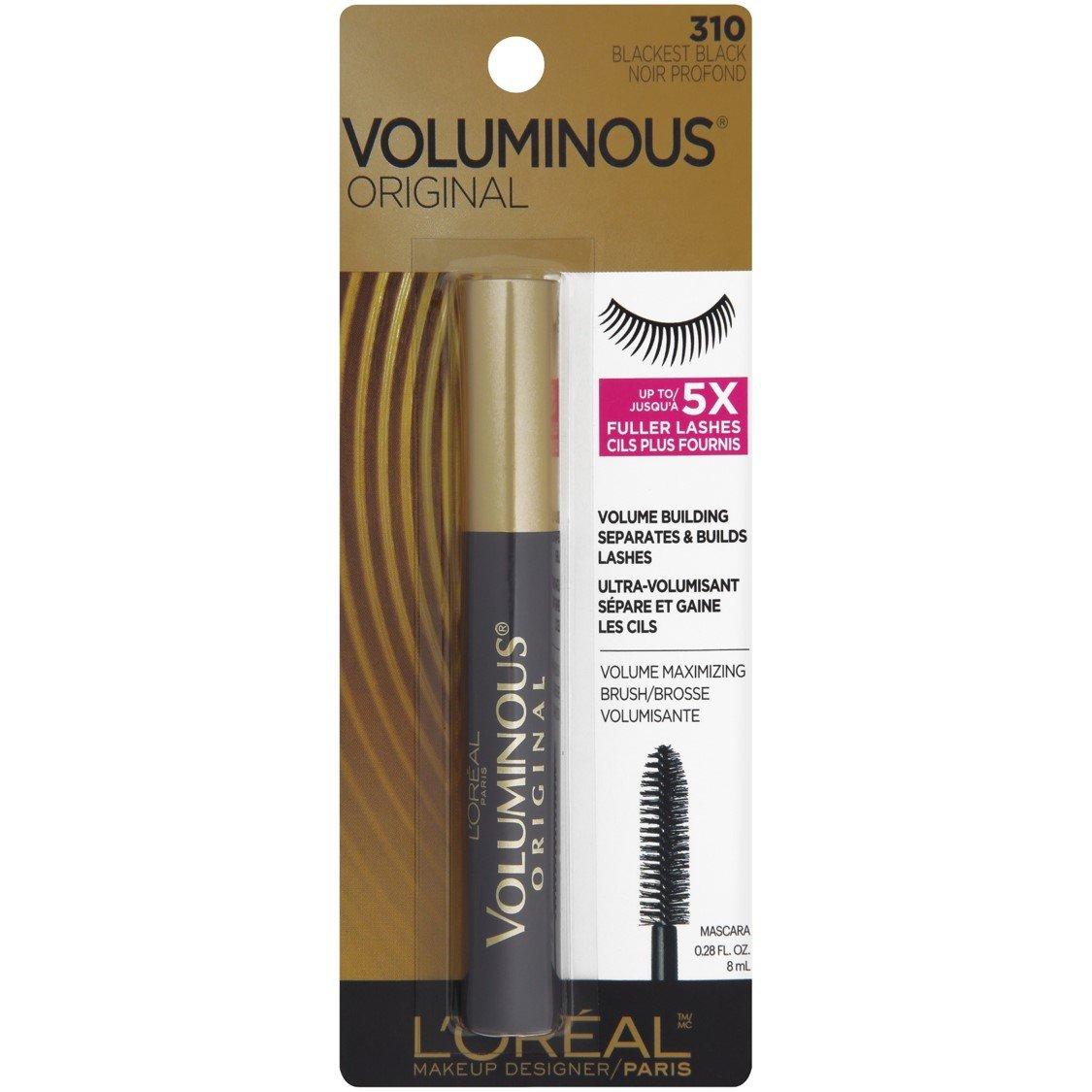 LOreal Paris Voluminous Original Mascara, Blackest Black, 0.28 Fluid Ounce: Amazon.es: Salud y cuidado personal