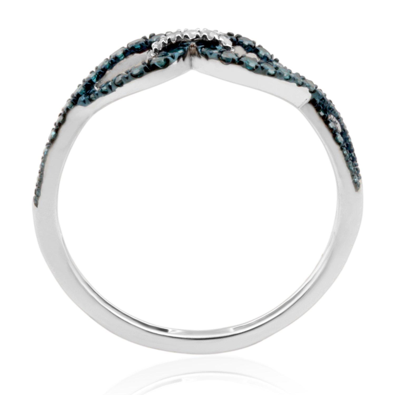 Goldenstar 0.26Ct 14k Gold Fancy Ring Blue /& White Diamond Ring