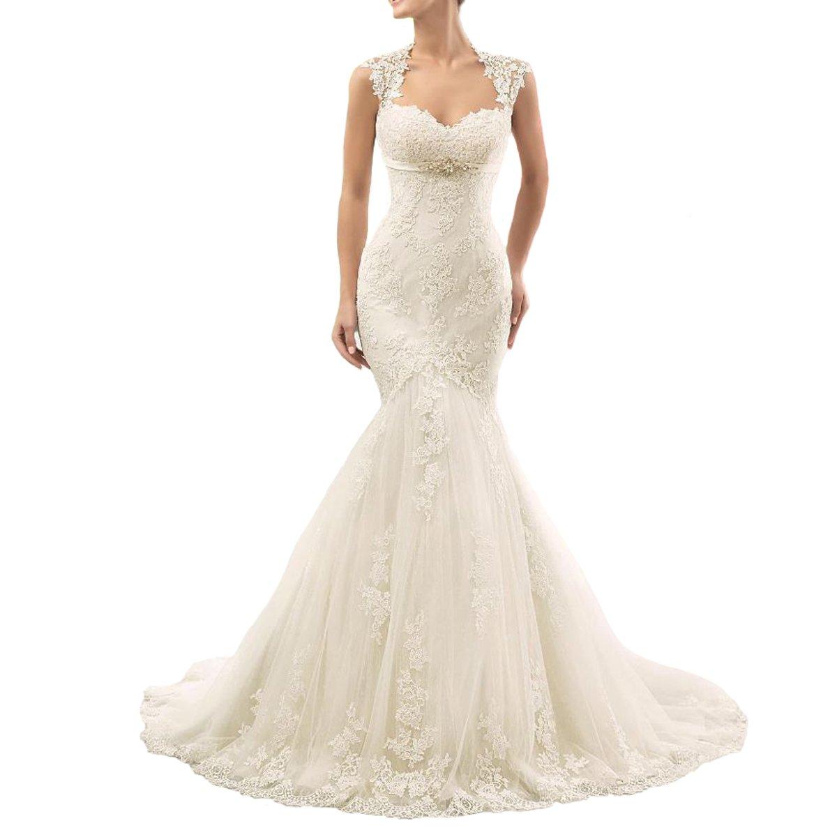 Yuxin Womens Sweetheart Lace Wedding Dresses Long Mermaid Cap