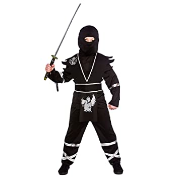 Black & Silver Ninja Assassin - Kids Costume 8 - 10 years ...