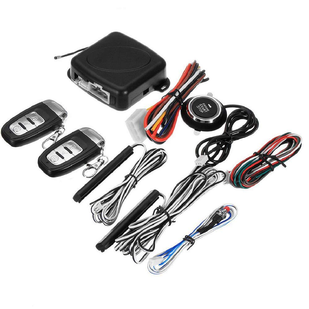 1-Way Car Security Alarm System with Passive Keyless Entry Remote Engine Start Push Button Star