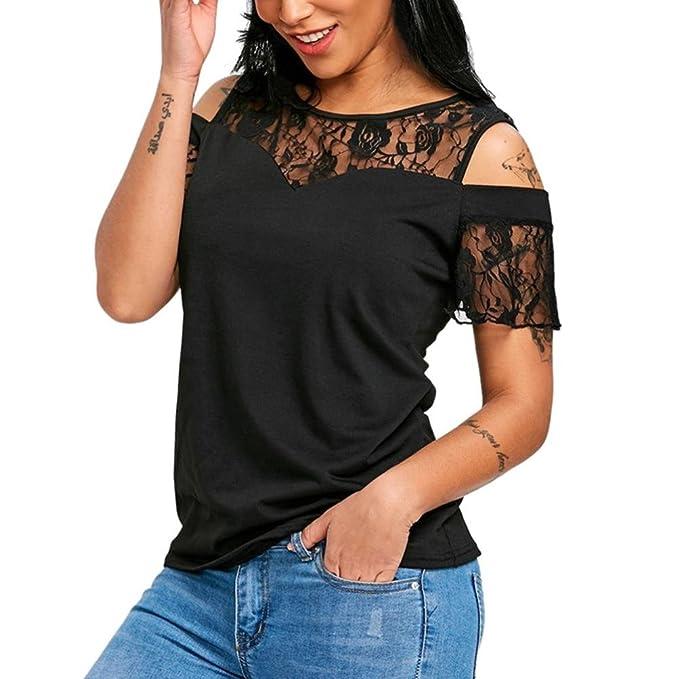 Koly Mujer Camisetas y tops Blusas y camisas encaje malla Perspectiva hueco hacia fuera de cuello