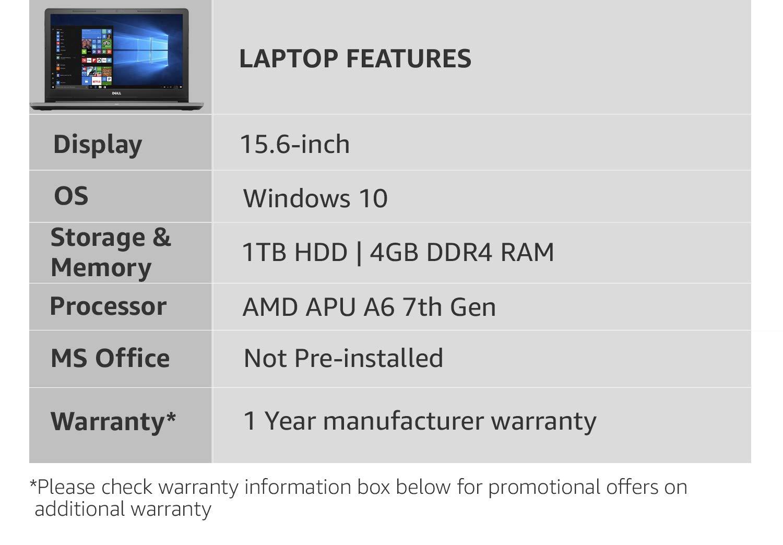 Dell Inspiron 3565 AMD APU 15 6 inch A6 7th Gen Laptop (4GB/1TB HDD/Windows  10 Home/Black/2 5 kg)