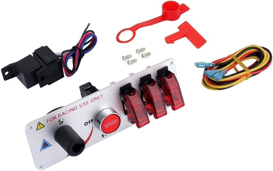 DC 12 V interruptor de encendido abatible, panel de superficie de fibra de carbono 5 en 1, botón de arranque del motor del coche para carreras deportivas competitivas coche