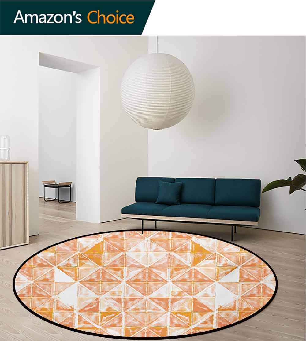 RUGSMAT Coral Small Round Rug Carpet,Raster Based Pattern with Watercolor Triangular Grid Hand Drawn Geometric Door Mat Indoors Bathroom Mats Non Slip,Round-55 Inch Coral Orange White