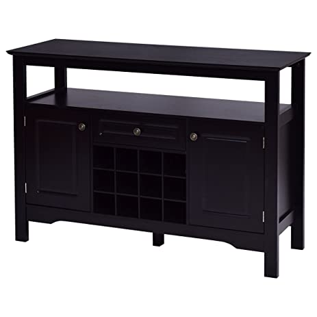 giantex black buffet server wood cabinet sideboard cupboard table withwine rack