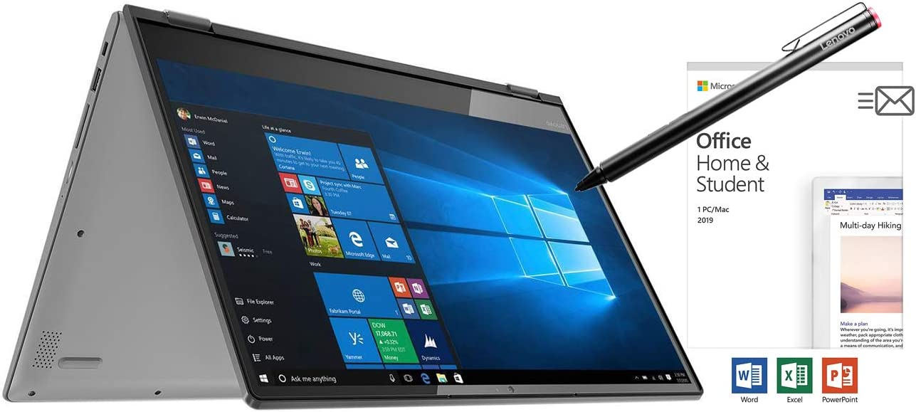 """Lenovo Flex 14"""" 2-in-1 Convertible Laptop, AMD Ryzen 3 (up to 3.40 GHz), 128GB SSD, 4GB Memory, AMD Radeon Vega 3 Graphic Card, 1366 x 768 Touchscreen, Windows 10 S with Active Pen and Office 2019"""