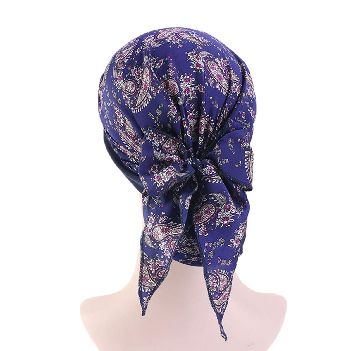 Funshow Womens Turban Head Scarves Pre-Tied Chemo Hat Headwraps Cancer Cap Navy