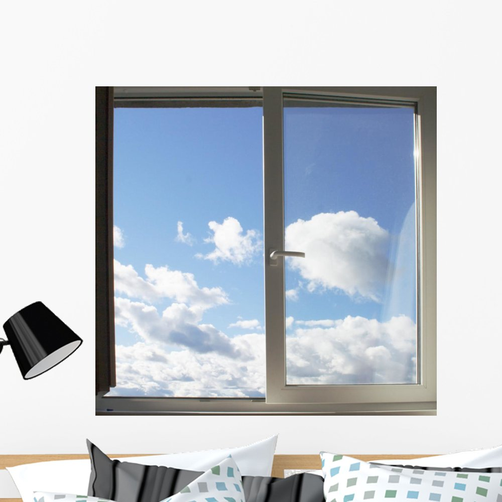 Wallmonkeys Window and Clouds Wall Mural Peel and Stick Graphic (36 in W x 35 in H) WM3850
