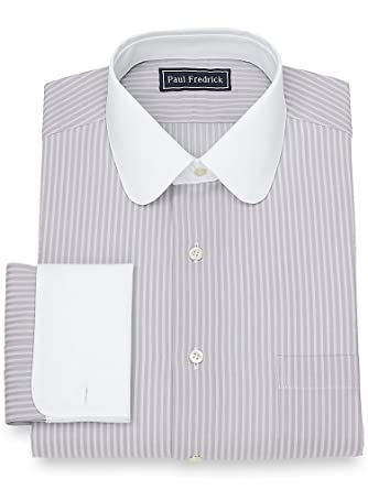 1920s Fashion for Men Paul Fredrick Mens Cotton Satin Stripe Dress Shirt $31.80 AT vintagedancer.com