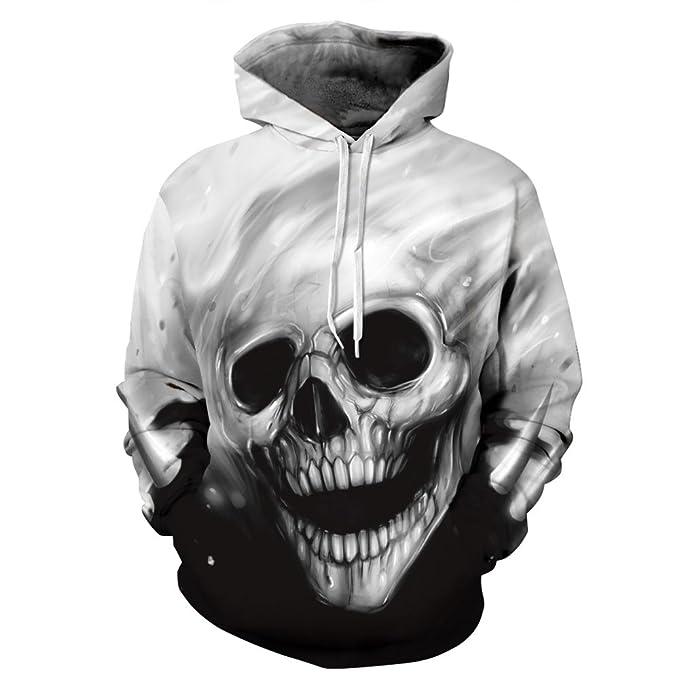 8760e13ef401 Ywfzzxs Unisex 3D Hoodies Skeleton Hd 3D Printed Sweatshirts Long Sleeve  Big Pockets Fleece Pullover S