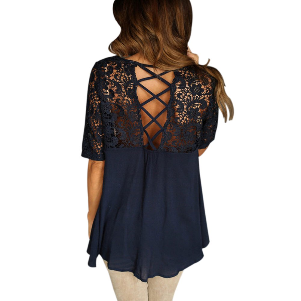b57d7b8c1cf7 iShine Womens Summer Sexy Open Back Lace Crochet Loose T Shirt Blouse Top  Tees Plus Size at Amazon Women s Clothing store