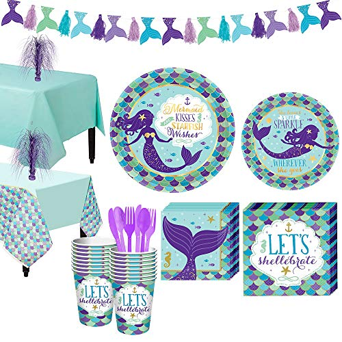 Party City Wishful Mermaid Basic Party Supplies for 16 Guests, Include Plates, Napkins, Cups, a Garland, and Decorations