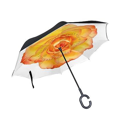 ISAOA Paraguas Grande invertido Paraguas Resistente al Viento ...