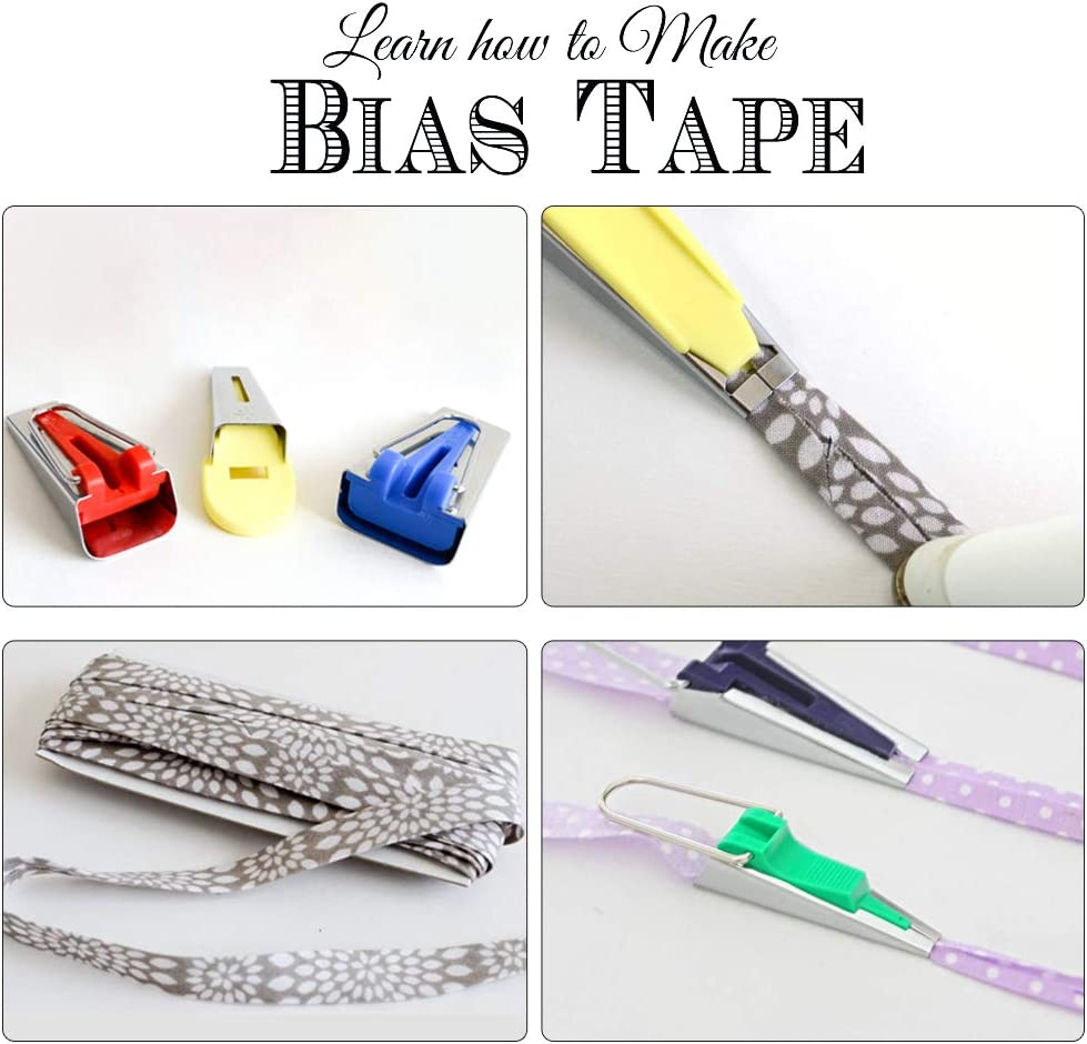 Sewing Bias Tape Makers Set of 4 Sizes Fabric Bias Tape Maker Kit 6mm 12mm 18mm 25mm DIY Quilt Tools Kit