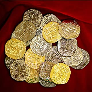 Large Metal Pirate Treasure Coins - 40 Gold and Silver Doubloon Replicas