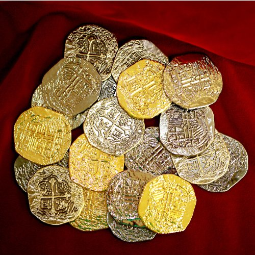 Large Metal Pirate Treasure Coins - 40 Gold and Silver Doubloon (Replica Pirate Coins)