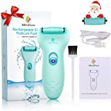 MiroPure Electric Rechargeable Pedicure Foot File, Professional Wet and Dry 100% Waterproof and 3X Powerful Callus Remover for Dead Hard Cracked Skin, Coarse and Fine 2 Roller Heads and Cleaning Brush